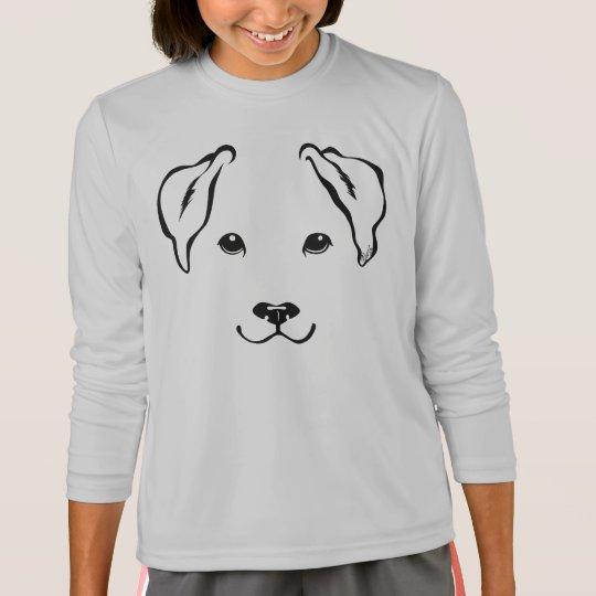 Cute Hand Drawn Dog Girl's Long Sleeve T-Shirt