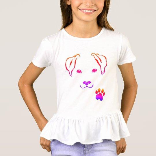 Cute Hand Drawn Dog Girl's Pretty Ruffle Shirt