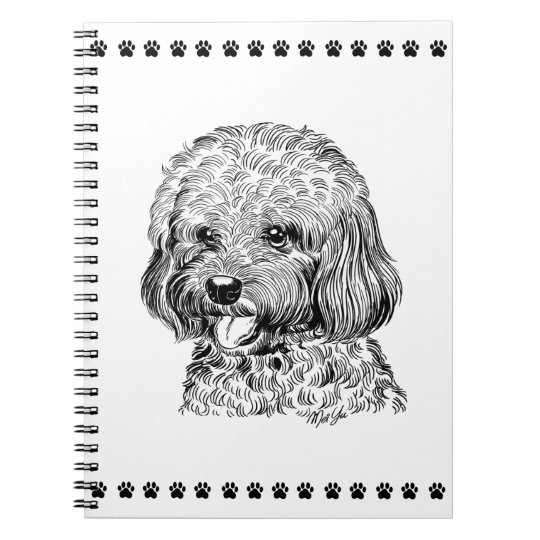 Cute Hand Drawn Dog + Paws School Notebook