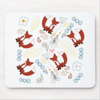 Cute Hand Drawn Fox Hearts in Yellow Blue Pink Mouse Pad
