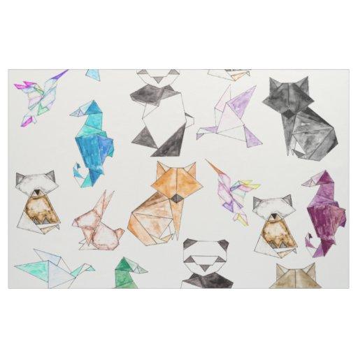 Cute Hand Drawn Geometric Paper Origami Animals Fabric