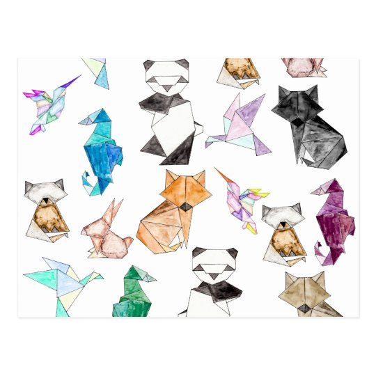 Cute Hand Drawn Geometric Paper Origami Animals Postcard