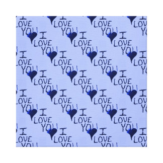 Cute Hand Drawn I Love You Heart Blue Pattern Canvas Prints