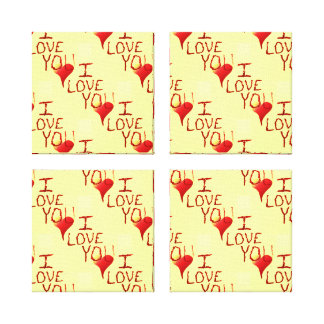 Cute Hand Drawn I Love You Heart Red Canvas Prints