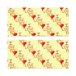Cute Hand Drawn I Love You Heart Red Gallery Wrapped Canvas