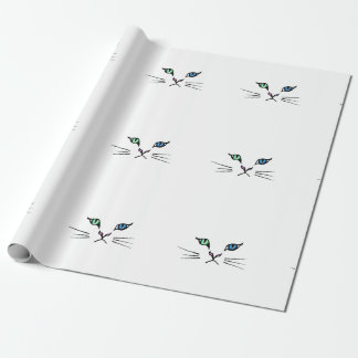 Cute Hand Drawn Kitten Face Wrapping Paper