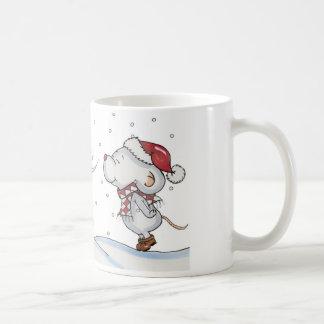 Cute hand drawn mouse design for Christmas Basic White Mug