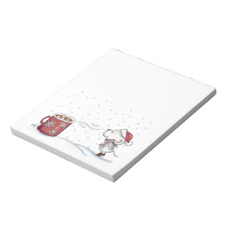 Cute hand drawn mouse design for Christmas Notepad