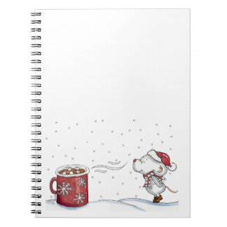 Cute hand drawn mouse design for Christmas Spiral Notebooks