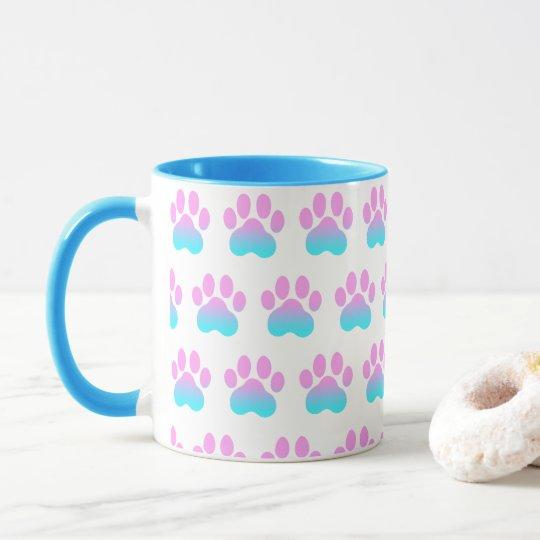 Cute Hand Drawn Paw Prints Pastel Combo Mug