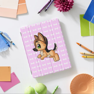 Cute Hand Drawn Puppy iPad 2/3/4 Pink Smart Cover iPad Cover