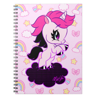 Cute Hand Drawn Unicorn Rainbow Notebook | Pink
