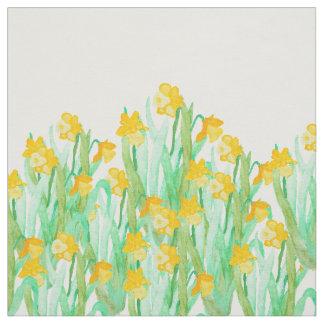 Cute hand drawn yellow watercolor daffodil