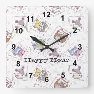 Cute hand painted animals-Happy Hour Personalise Square Wall Clock