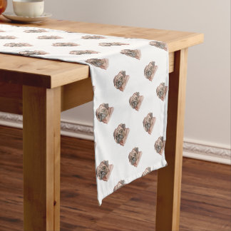 Cute Hand Painted Black Brown Watercolor Pug Dog Short Table Runner