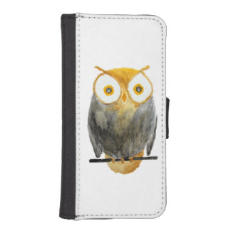 Cute hand painted black yellow watercolor owl iPhone SE/5/5s wallet case