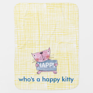 cute hand painted cat holding a HAPPY  sign board Baby Blanket
