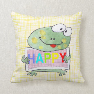 cute hand painted frog pillow