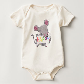 cute hand painted mouse holding a HAPPY sign board Baby Bodysuit