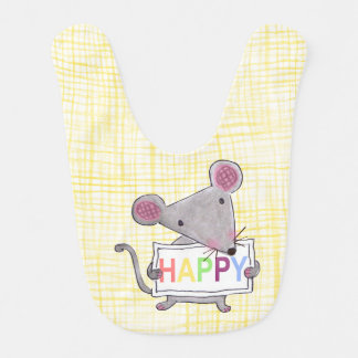 cute hand painted mouse holding a HAPPY sign board Bib