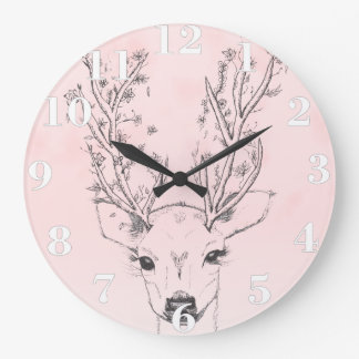 Cute handdrawn floral deer antlers pink watercolor large clock