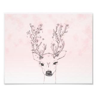 Cute handdrawn floral deer antlers pink watercolor photograph
