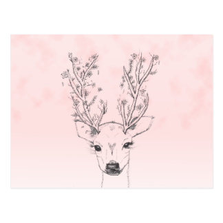 Cute handdrawn floral deer antlers pink watercolor postcard