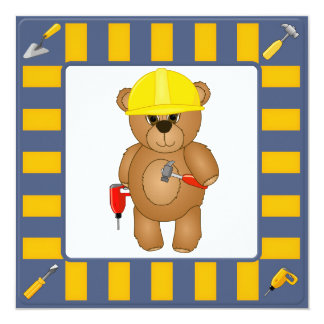 Cute Handyman Cartoon Teddy Bear Birthday Party Card