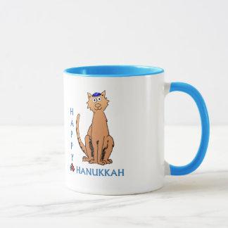 Cute Hanukkah Cat with Dreidels Cup