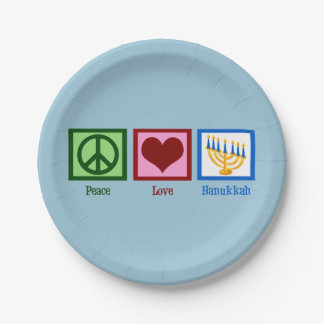 Cute Hanukkah Peace Love Paper Plate