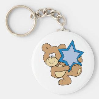 cute hanukkah teddy bear holding star of david basic round button key ring
