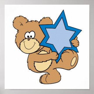 cute hanukkah teddy bear holding star of david poster