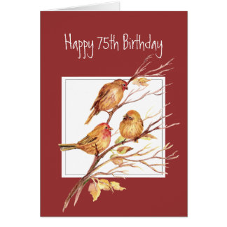 Cute Happy 75th Birthday Song Sparrows Greeting Card