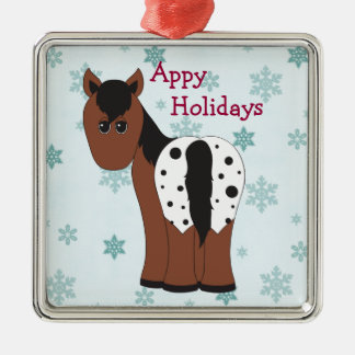 Cute Happy Appy Holidays Blanket Appaloosa Horse Christmas Ornament
