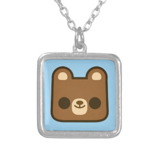 Cute Happy Bear Face on Blue Necklaces