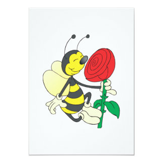 cute happy bee smelling rose personalized invitation