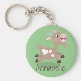 Cute happy billy goat cartoon illustration key ring