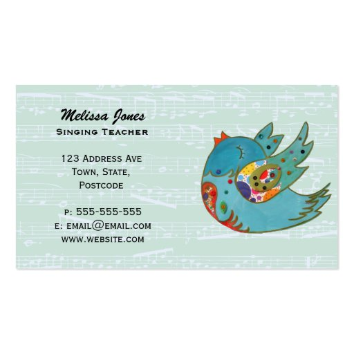 Cute happy bird business card template