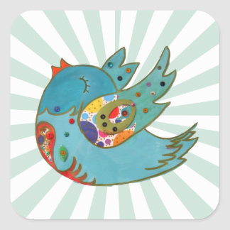 Cute happy bird square sticker