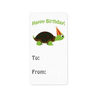 Cute Happy Birthday! Turtle Address Label