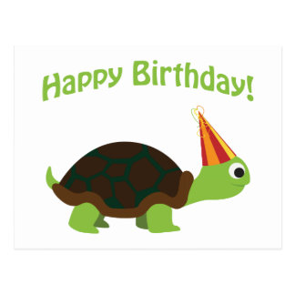 Cute Happy Birthday! Turtle Postcard