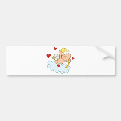Cute Happy Blue Eyed Cupid with Bow and Arrow Bumper Sticker