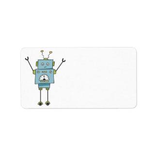 Cute Happy Blue Robot Blank Address Label