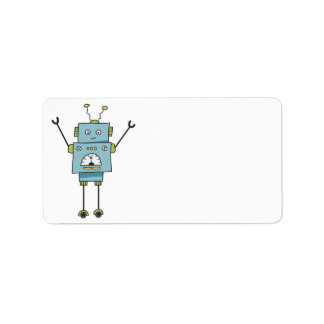 Cute Happy Blue Robot Blank Label