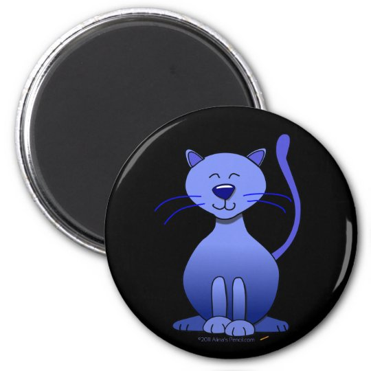 Cute Happy Blue Smiling Cat on Black Magnet