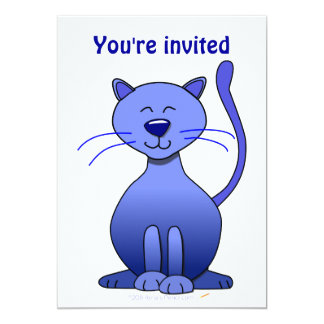 Cute Happy Blue Smiling Cat Picture Funny Template 13 Cm X 18 Cm Invitation Card