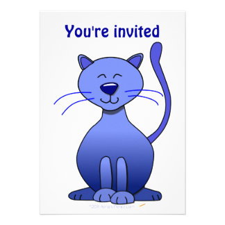 Cute Happy Blue Smiling Cat Picture Funny Template Personalized Invite