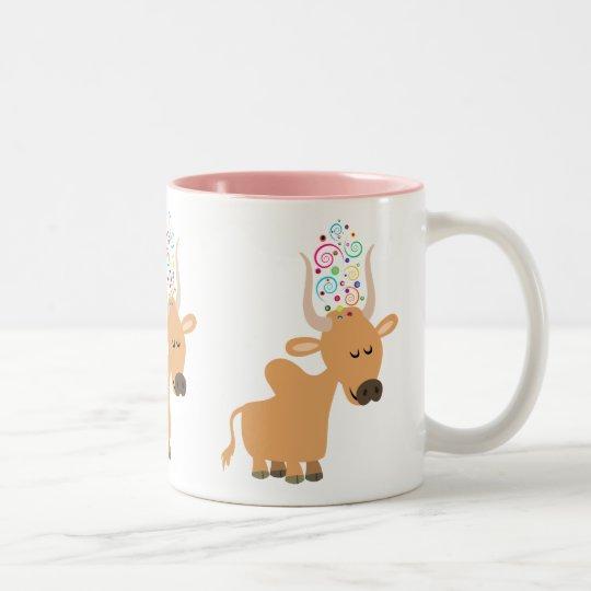 Cute Happy Brahman Cow Two-Tone Coffee Mug