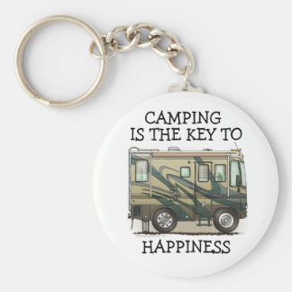 Cute Happy Camper Big RV Coach Motorhome Basic Round Button Key Ring