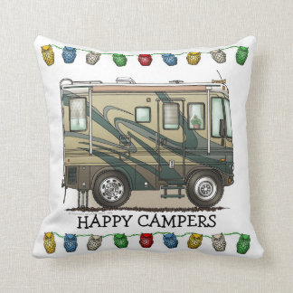 Cute Happy Camper Big RV Coach Motorhome Cushion